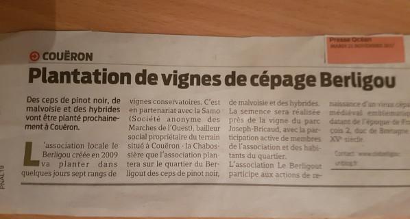 FUTURE PLANTATION DE VIGNES AU BERLIGOUT : LA PRESSE EN PARLE (P.O 21.XI.17)